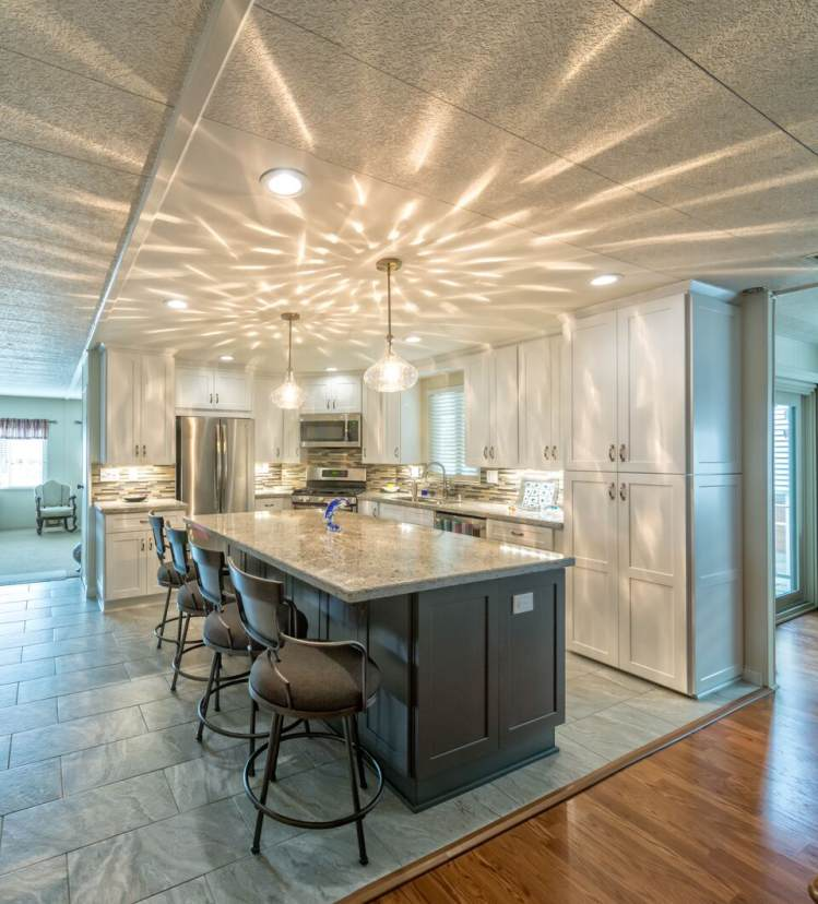 bright and modern manufactured home kitchen remodel. Black Bedroom Furniture Sets. Home Design Ideas