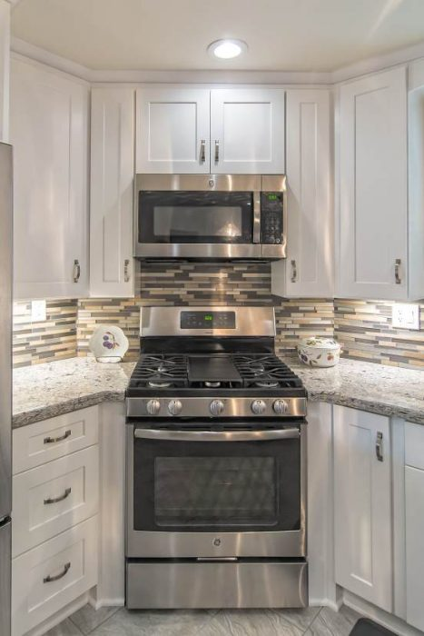 modern manufactured home kitchen remodel - new stove installed