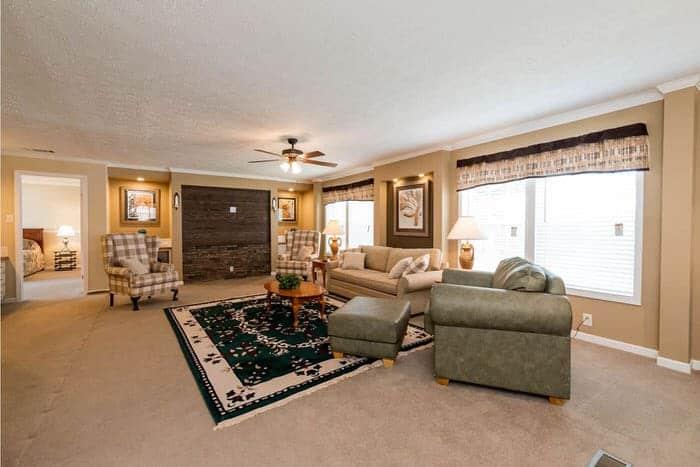 modern manufactured home models-Ridgecrest 6010 living room