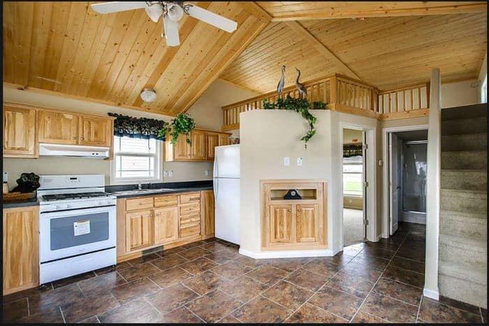 modern manufactured home models-park model kitchen