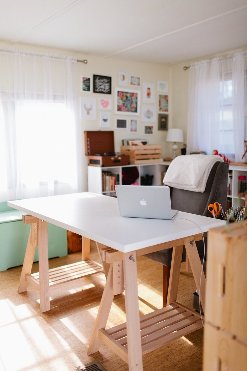 mobile home decor-modern office in mobile home