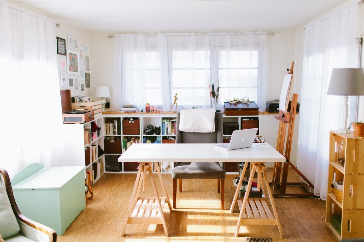 mobile home decor-modern office in single wide mobile home