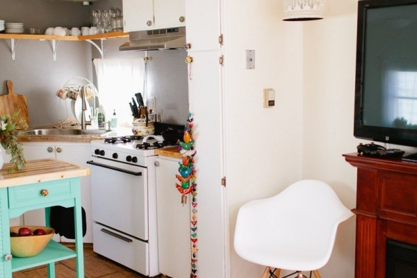 modern white kitchen in mobile home Mobile and