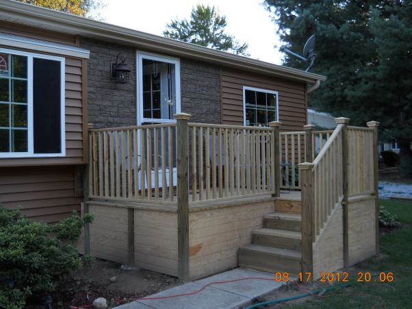new deck on manufactured home double wide