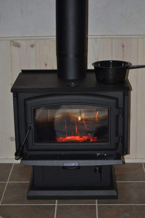 new wood stove installed in mobile home