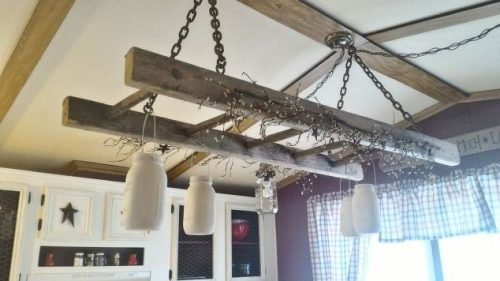 old-barn-ladder-turned-into-chandelier-mobile-home-gets-rustic-farmhouse-kitchen-makeover