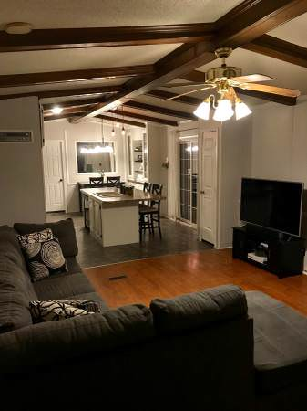 Open floor plan in a single wide remodel - How to decorate a mobile home living room ...