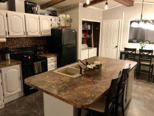 Open floor plan in a single wide remodel-kitchen