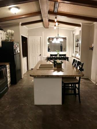 open floor plan in a single wide remodel-kitchen sink