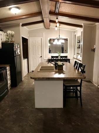 open floor plan in a single wide remodel-kitchen sink
