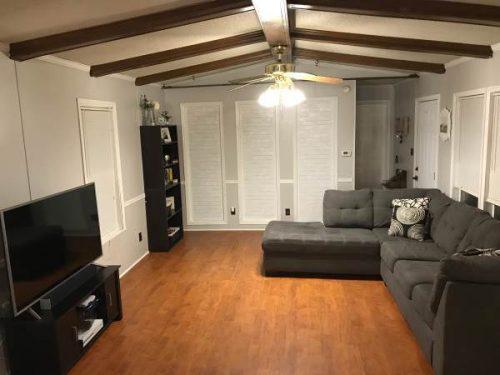open floor plan in a single wide remodel-living room