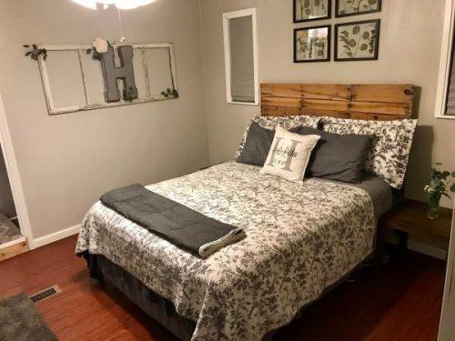 open floor plan in a single wide remodel-master bedroom