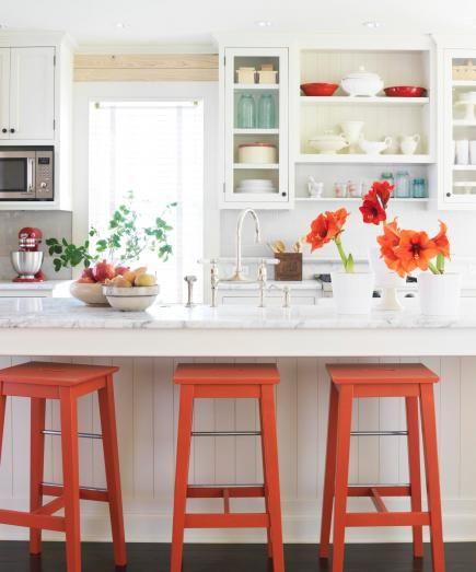 mobile home rental-orange accent in kitchen