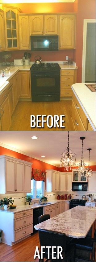 mobile home rental-orange paint kitchen makeover