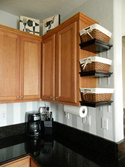 inexpensive ways to organize your manufactured home -shelf with baskets