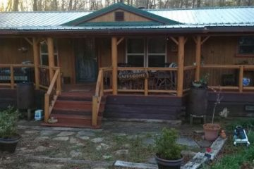 Exterior view of DIY rustic cabin makeover