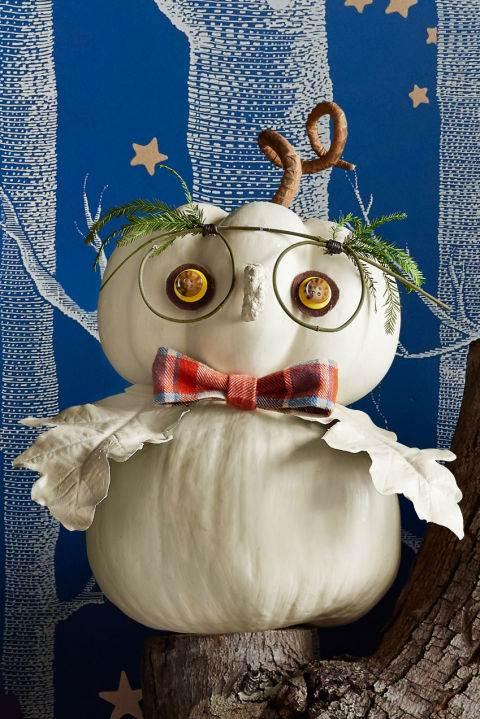 Owl pumpkin 2 - fall diy decor ideas -cheap diy fall decorating ideas