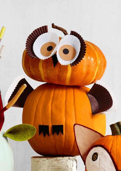 owl pumpkin decor - DIY fall decorating ideas