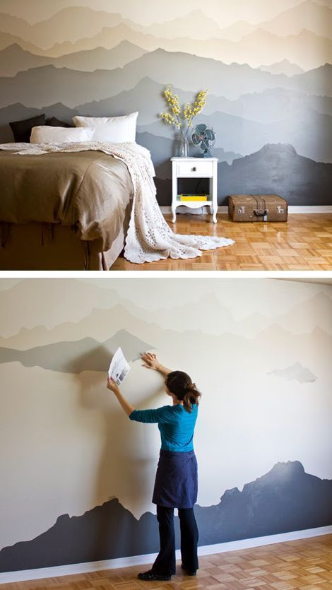 Painting mountains on accent walls