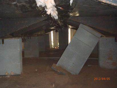 Piers falling under a manufactured home - manufactured home inspection