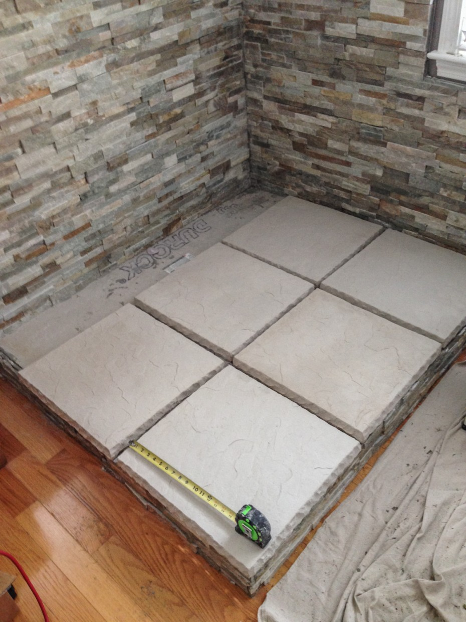 planning stone floor tile for stove installation