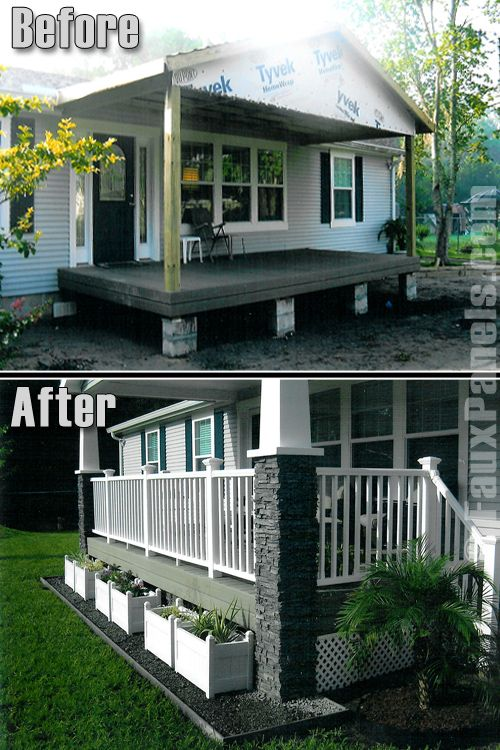 front porch designs for mobile homes. porch with stone columns on manufactured home 9 Beautiful Manufactured Home Porch Ideas