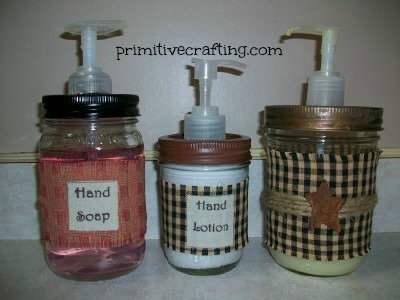 Primitive country style mason jar soap pump tutorial