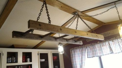 farmhouse kitchen makeover-barn-loft-ladder-chandelier-project