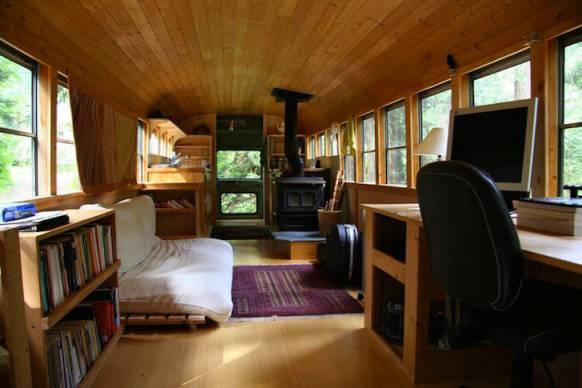 school bus to camper - interior
