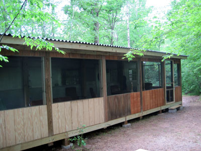 screened in porch on 1955 Spartan renovation