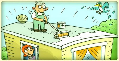 sealing a flat roof cartoon - buying a used mobile home