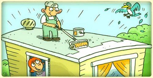 Sealing A Flat Roof Cartoon