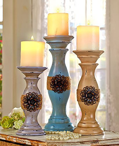 shabby chic decor-candle holders