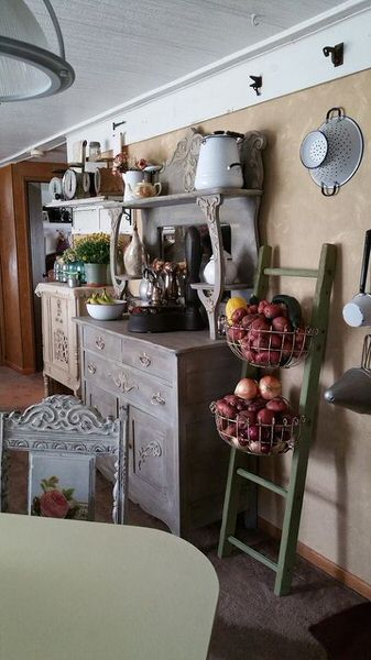 shabby chic remodel update-buffet