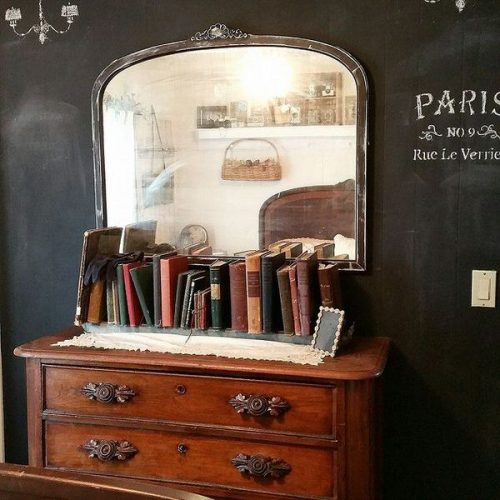 Shabby chic remodel update-chalkboard paint wall
