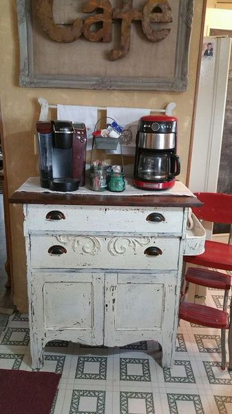 Shabby chic remodel update-coffee bar