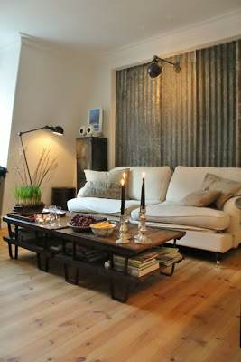 sheet metal home decor-sheet metal accent wall in a living room