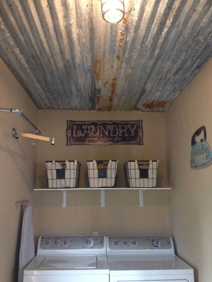 sheet metal home decor-sheet metal laundry room ceiling project