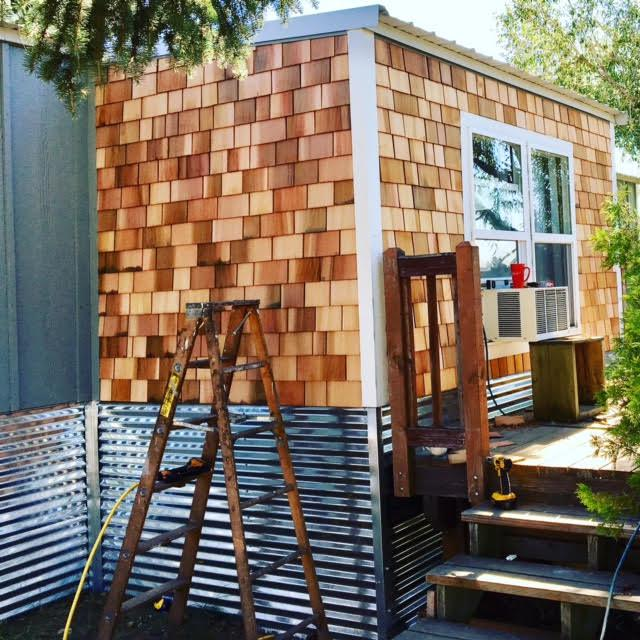 sherman creek farm - cedar siding installed on single wide mobile home - Complete remodel of a 1979 Fleetwood Single Wide manufactured home - adding exterior sheathing to a mobile home