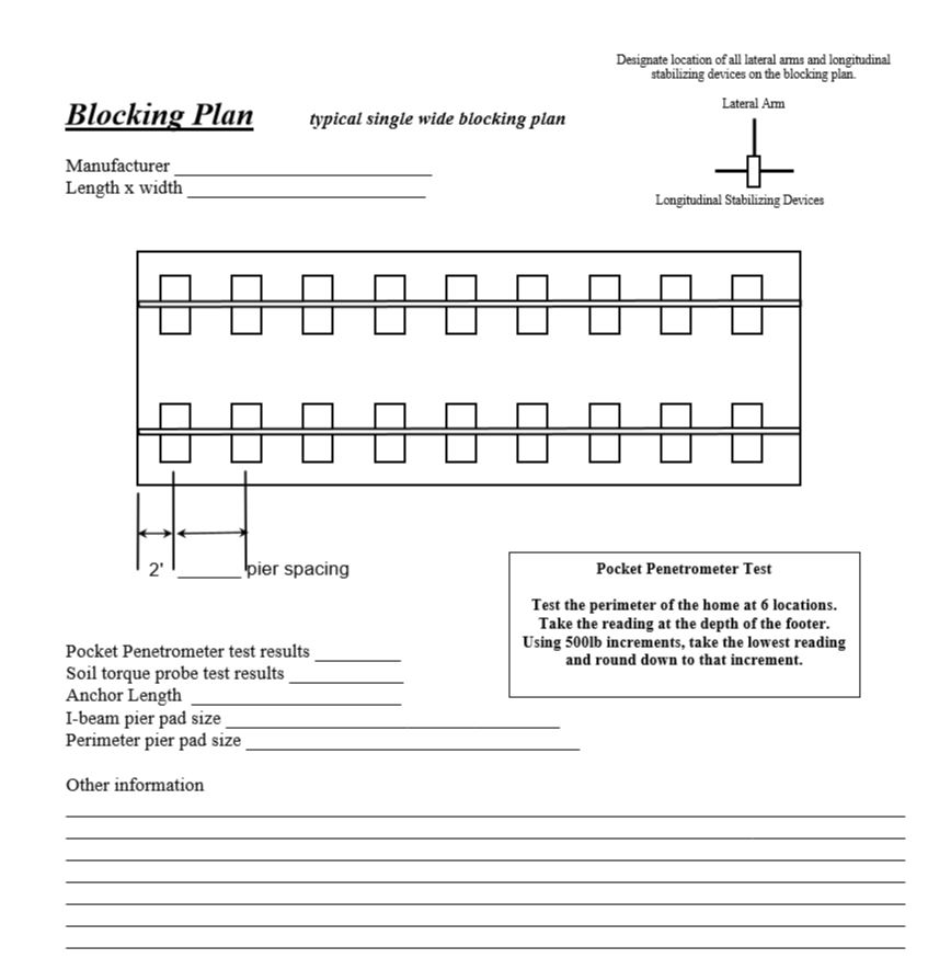 single wide mobile home blocking plan