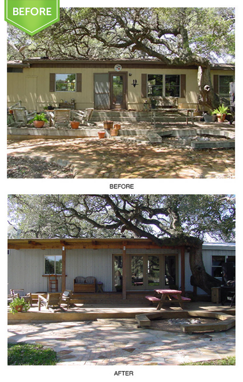 single wide trailer remodel before and after entrance