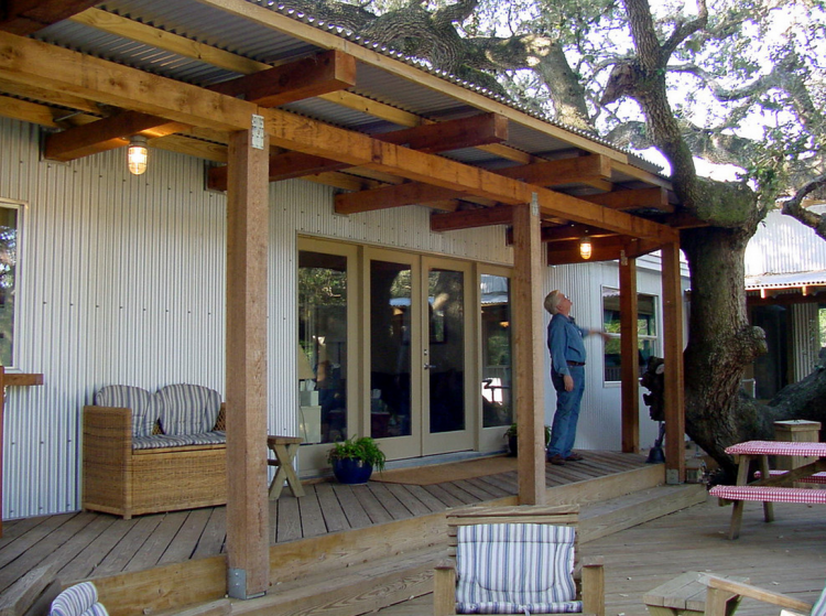 The texas trailer transformation mobile and manufactured for Ideas for covered back porch on single story ranch