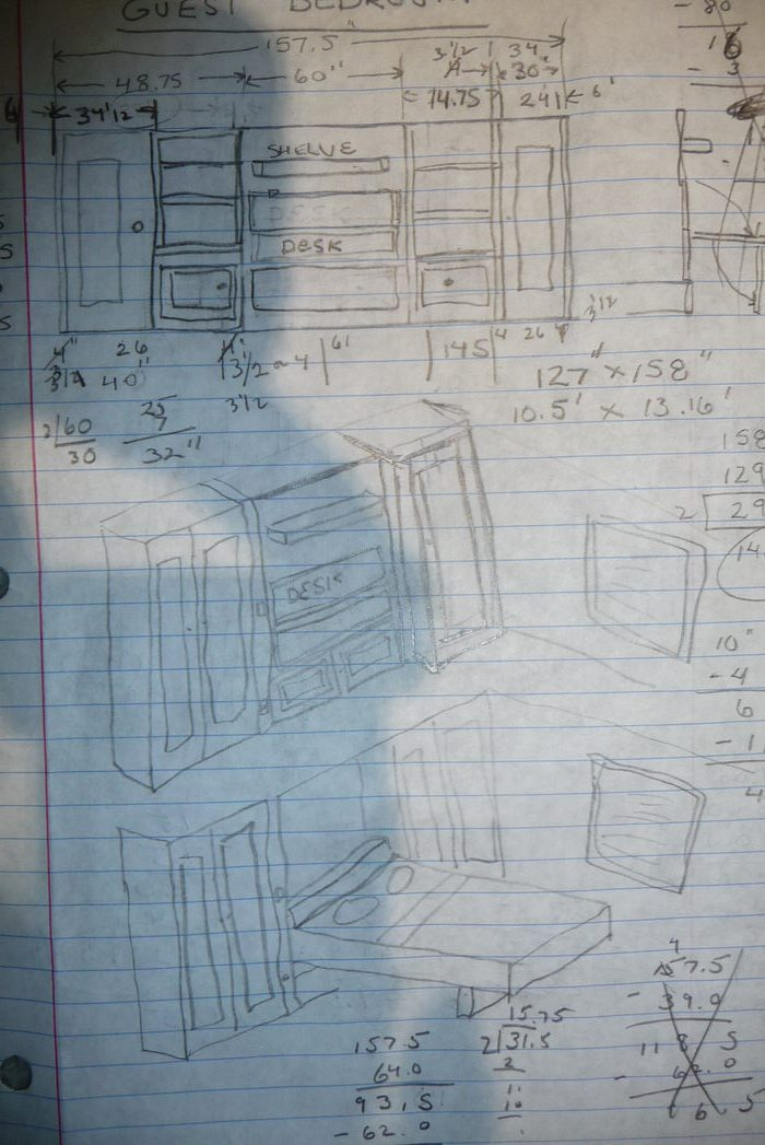 mobile home guest room makeover - Chuck's conceptual design for a custom-built Murphy Bed.