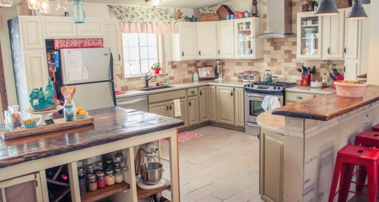 Stone accent walls - double wide mobile home kitchen stone accent