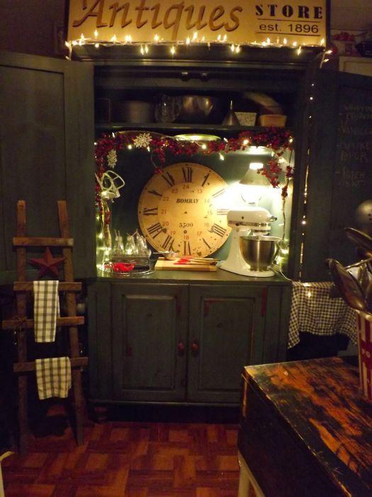 Vintage Farmhouse Decor in a Mobile Home - armoire transformed into baking center