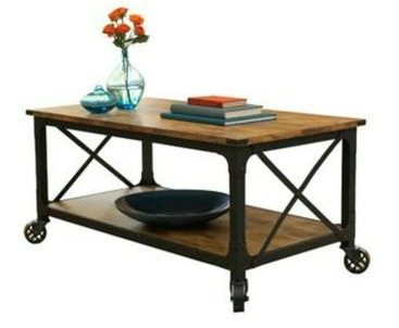table used in affordable living room makeover