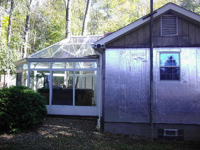 sun room added to the front of a manufactured home