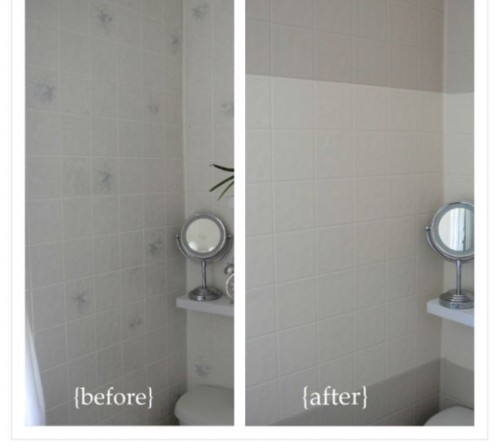 painting tileboard makeover - before and after