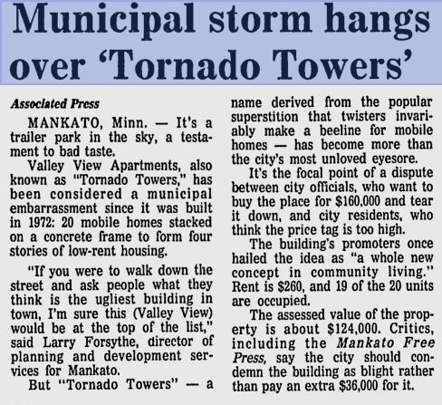 tornado tower writeup in the newspaper