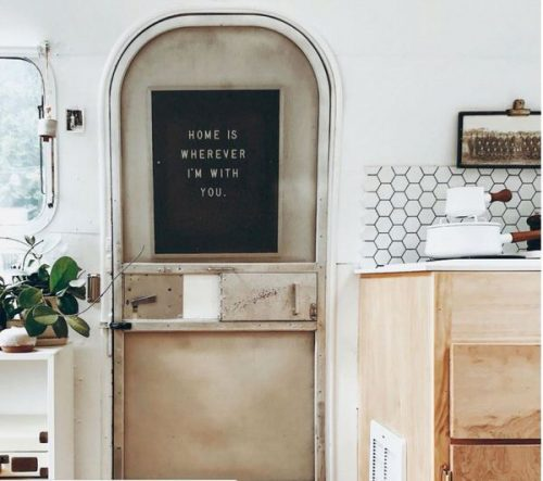 transforming a vintage airstream-chalk paint on door